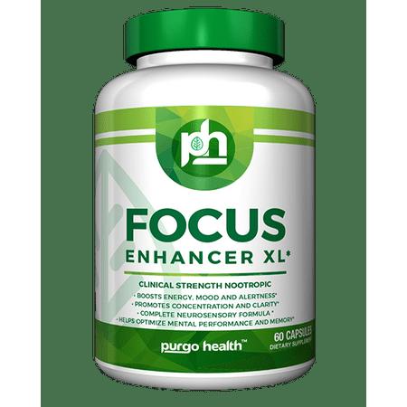 Purgo Health Focus Enhancer XL -Supplement for Focus, Energy, Concentration & Clarity – Mental Performance Nootropic – COMPLETE NEUROSENSORY FORMULA