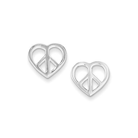 .925 Sterling Silver 11 MM Peace Sign Heart Post Stud Earrings MSRP (Sterling Peace Sign Earrings)
