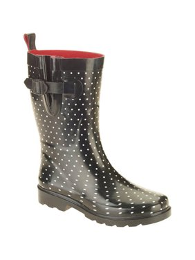 27d823e17791 Product Image Women's Diamond Dot Printed Mid-Calf Rubber Rain Boots
