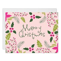Pink Merry Christmas Cards & Envelopes ( Set of 25 ) Modern Holly Berry Foliage Folded Happy Holiday Greeting Seasonal Notecards Stationery Box Pack Blank Inside Excellent Value by Digibuddha VH0009B