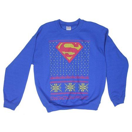 Superman Ugly Christmas Sweater Tacky Holiday Winter Snowflake DC Sweatshirt ()