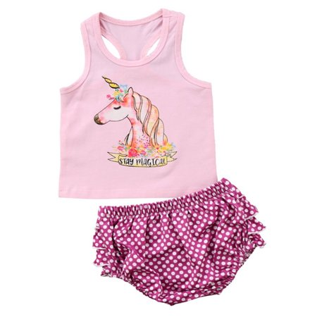 stylesilove Baby Girl Stay Magical Unicorn Printed Tank With Dots Ruffle Bloomers 2 Pcs Set (100/18-24 Months)
