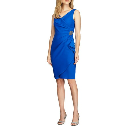 - Faux Wrap Brooch Dress