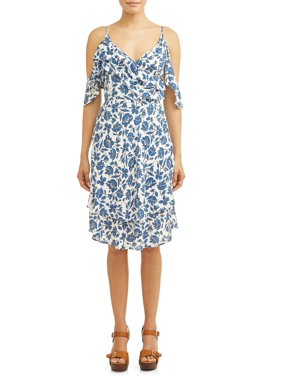 16b5ea73e7af Product Image Cold-Shoulder Ruffle Midi Dress Women s