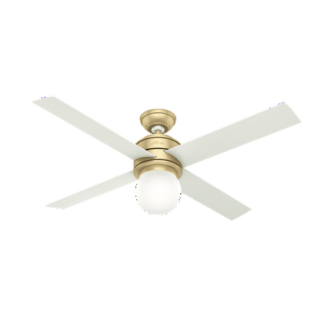 """52"""" Hunter Hepburn Modern Brass Ceiling Fan with LED Light Kit and Wall Control"""
