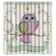 HelloDecor Owl Shower Curtain Polyester Fabric Bathroom Decorative Size 66x72 Inches