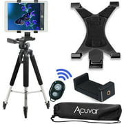 Acuvar 57 inch Pro Series Tripod, Acuvar Tablet Mount + Universal Smartphone Mount + Wireless Remote for All Smartphone and tablet devices
