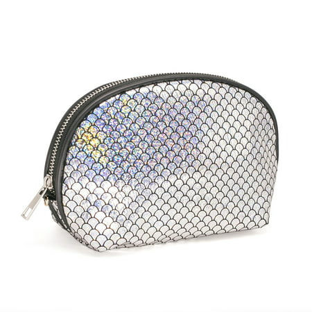 Fashion Women Makeup Bag Organizer Storage Bag Sparkling Fish Scales Pattern Shell Shape Zipper Case Cosmetic Bags Large Capacity - Fish Scale Makeup