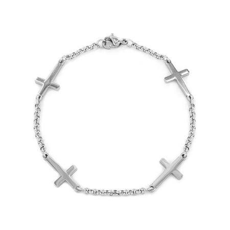 Stainless Steel Sideways Cross Charm Bracelet