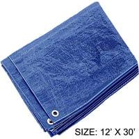 12 Feet x 30 Feet Multipurpose Blue 3 Mil PE Tarp - Waterproof, 70 GSM (POLY PRO: TB1230)