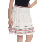 TOMMY HILFIGER Womens White Embroidered Knee Length Skirt  Size: 10
