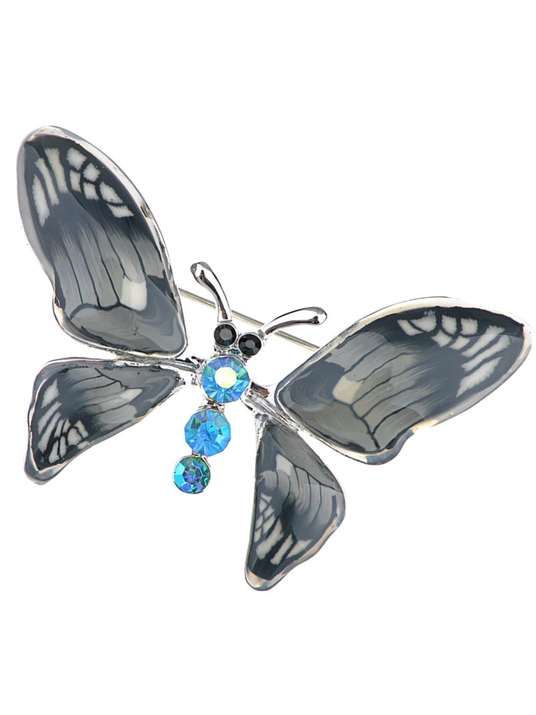 Grey Enamel Gloss Hand Painted Blue Opal Crystal Rhinestone Butterfly Brooch Pin by