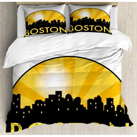 Boston Queen Size Duvet Cover Set, City Landmarks with Semi Circle Radial Beamed Sun Effect Design, Decorative 3 Piece Bedding Set with 2 Pillow Shams, Mustard Earth Yellow and Black, by Ambesonne