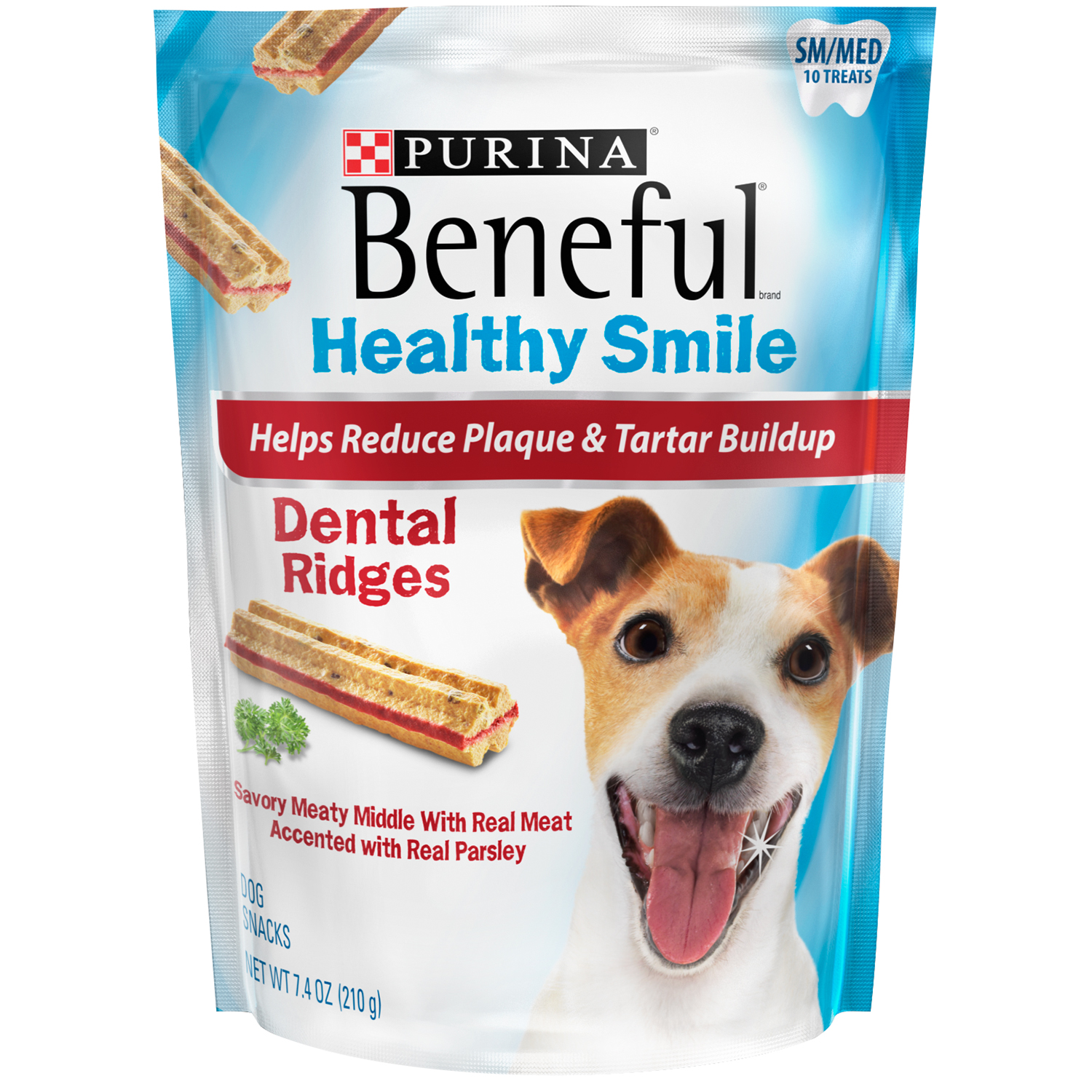 Purina Beneful Healthy Smile Dental Dog Treats Adult Small/Medium Ridges 7.4 oz. Pouch