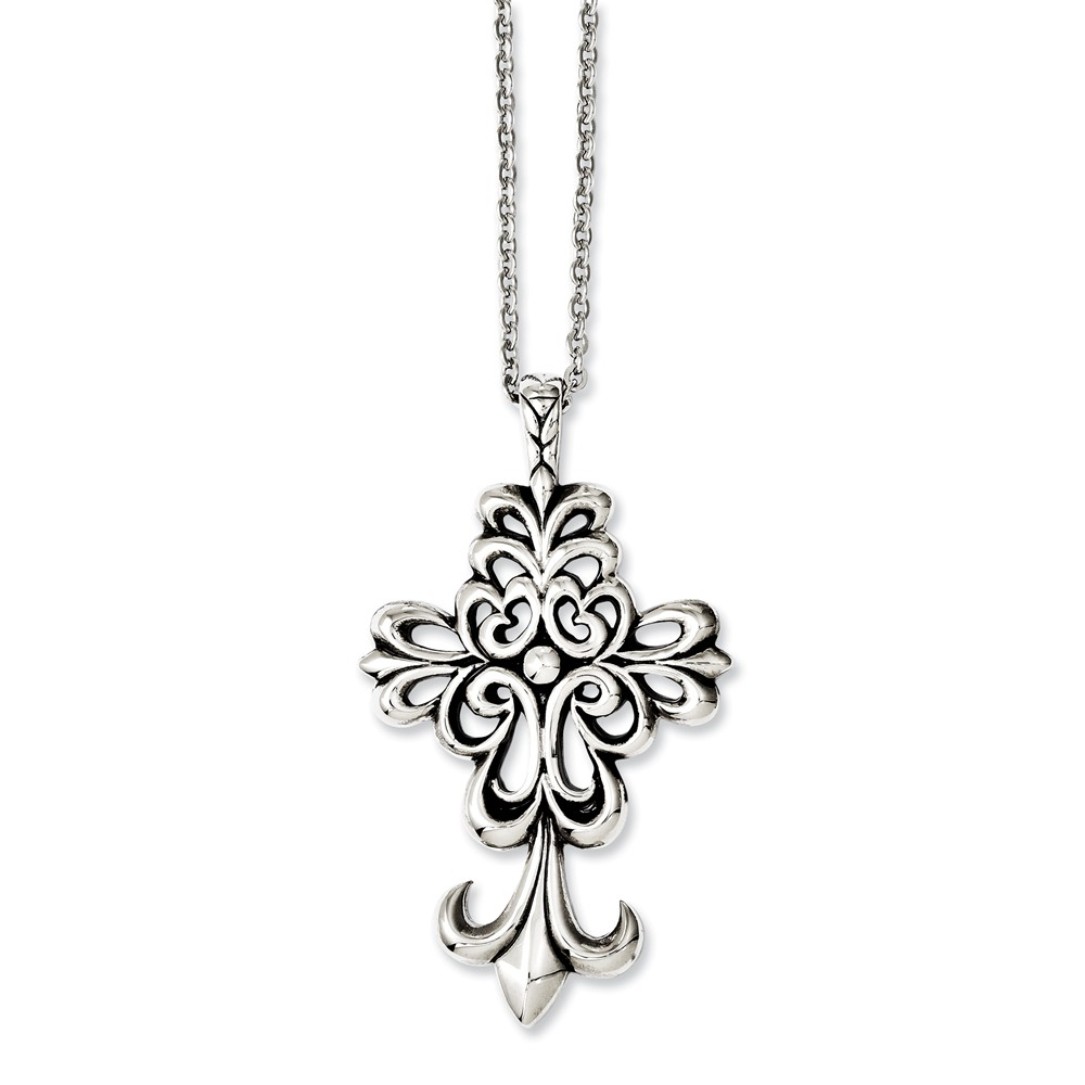 Stainless Steel Antiqued & Polished Cross 24in Necklace