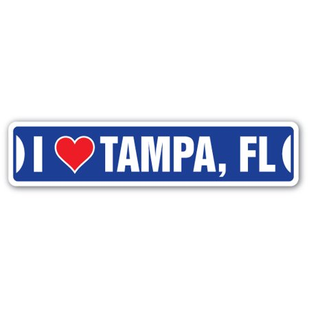 I LOVE TAMPA, FLORIDA Street Sign fl city state us wall road décor gift - Party City Hours Tampa