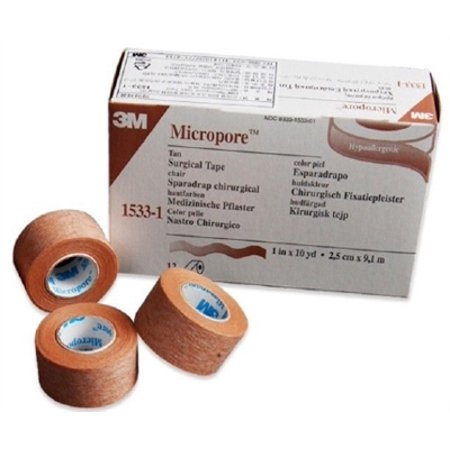 Micropore Surgical Medical Tape, Tan, Paper, 1 Inch X 10 Yards, 3M 1533-1, Single