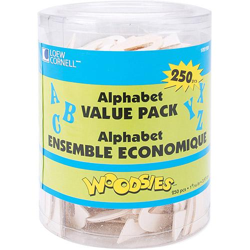 "Loew-Cornell Woodsies Alphabet, 1-9/16"", 250-Pack"
