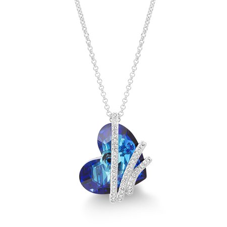 Faceted Crystal Sideways Heart Necklace made with Swarovski Crystals
