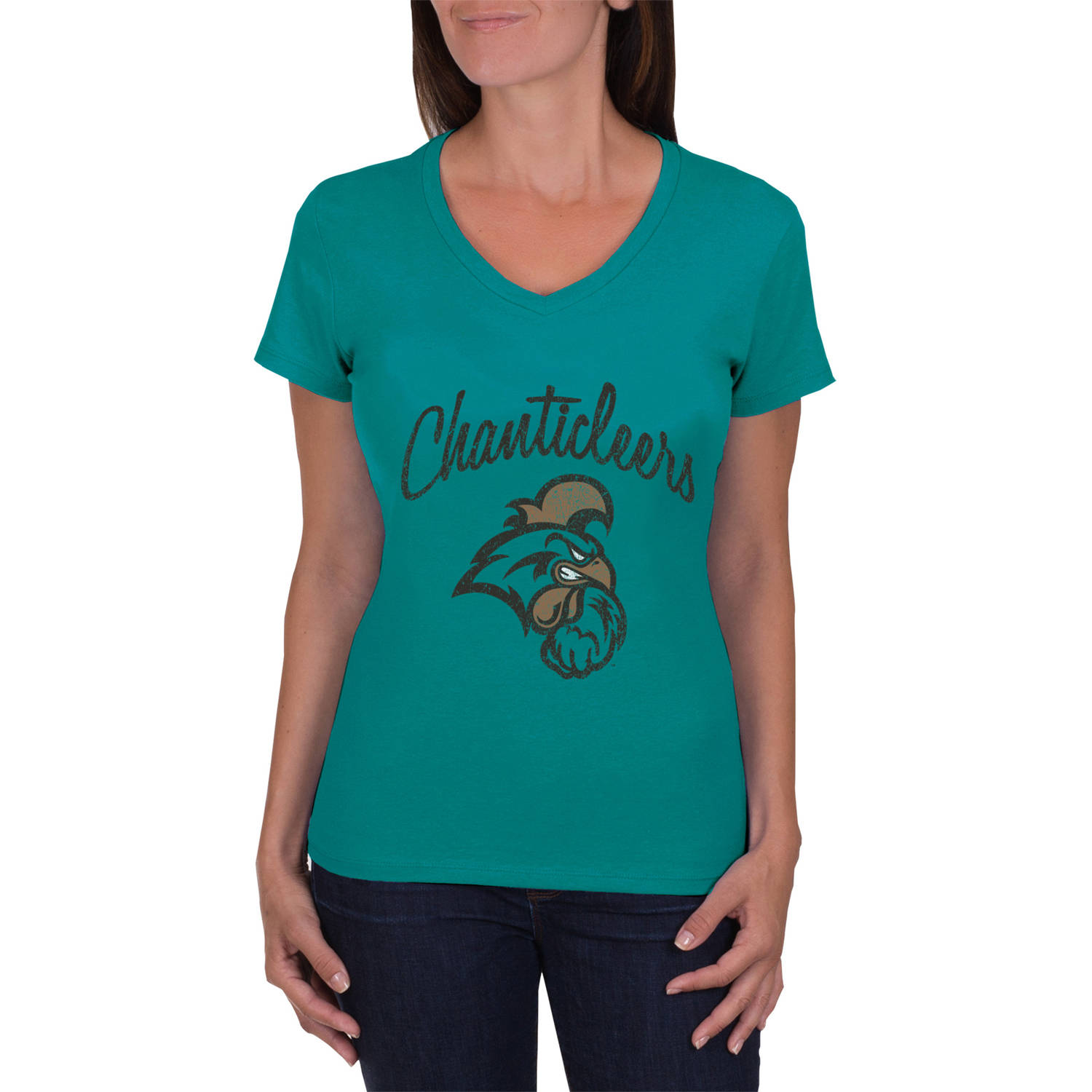 NCAA Coastal Carolina Chanticleers Women's V-Neck Tunic Cotton Tee Shirt