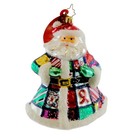 Christopher Radko QUILT N CLAUS Blown Glass Ornament Christmas Aids Charity ()