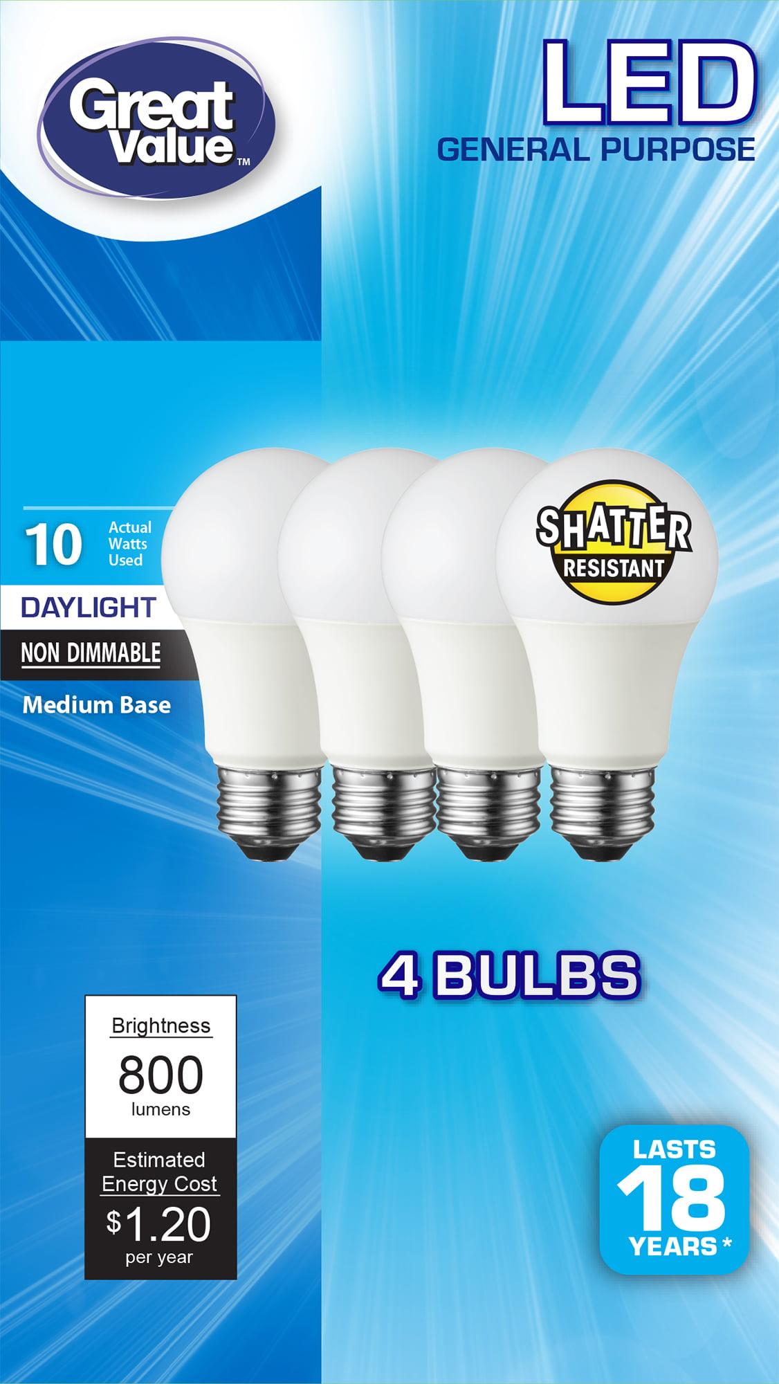 Led Light Bulb Daylight: Great Value (A19) LED Light Bulbs, 10W (60W Equivalent