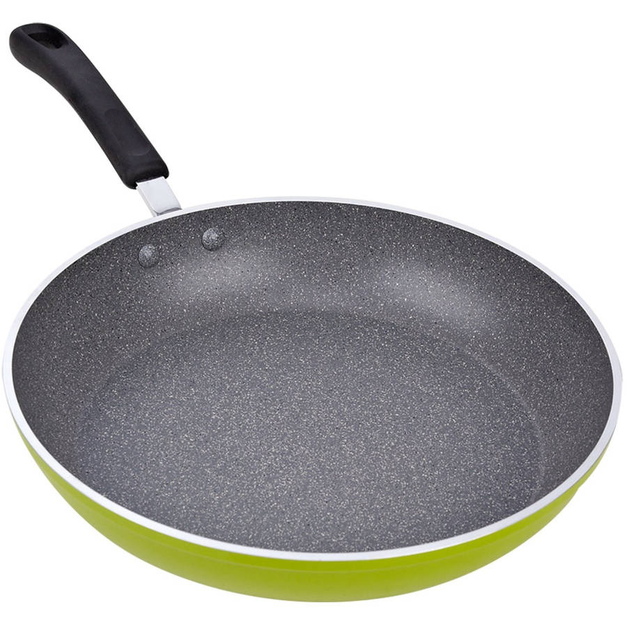"Cook N Home 12"" Frying Pan/Saute Pan with Non-Stick Coating Induction Compatible, Green"