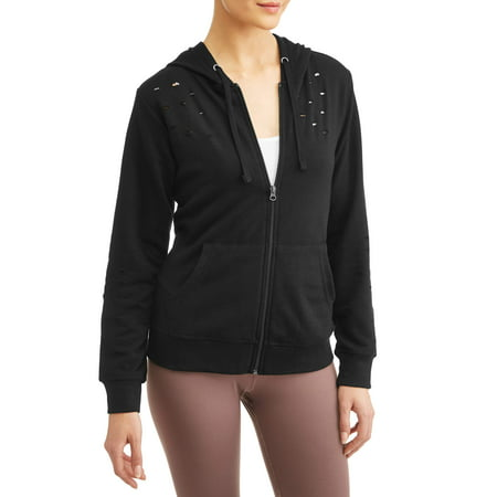 Women's Active Distressed Full Zip Hoodie Ash Ladies Full Zip