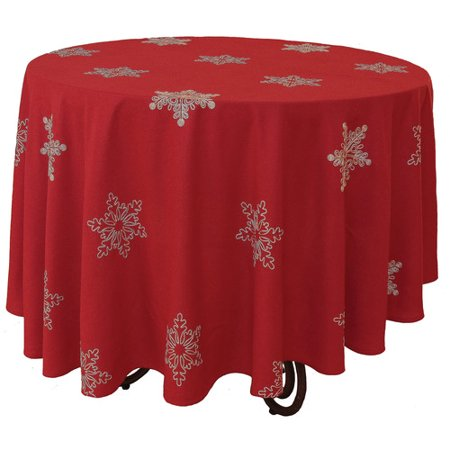 Xia Home Fashions Snowy Noel Embroidered Snowflake Christmas Round Tablecloth - Round Christmas Tablecloths