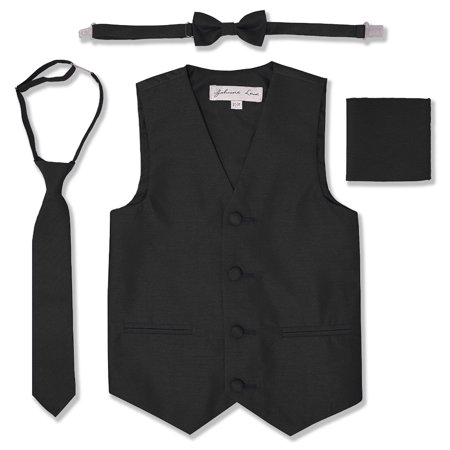 Johnnie Lene Boys Formal Dupioni Tuxedo Vest Set - Pink Satin Jacket Cheap