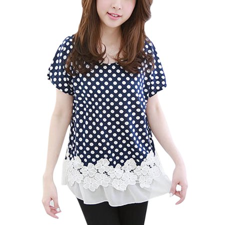 5481a78b22e Woman Dots Print Chiffon Panel Crochet Design Short Sleeve Tunic Top Dark  Blue M - image ...