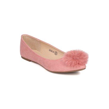 (Women Round Toe Ballet Flat - Pom Pom Flat - Fuzzy Ballerina Flat - GI42 By Alrisco)
