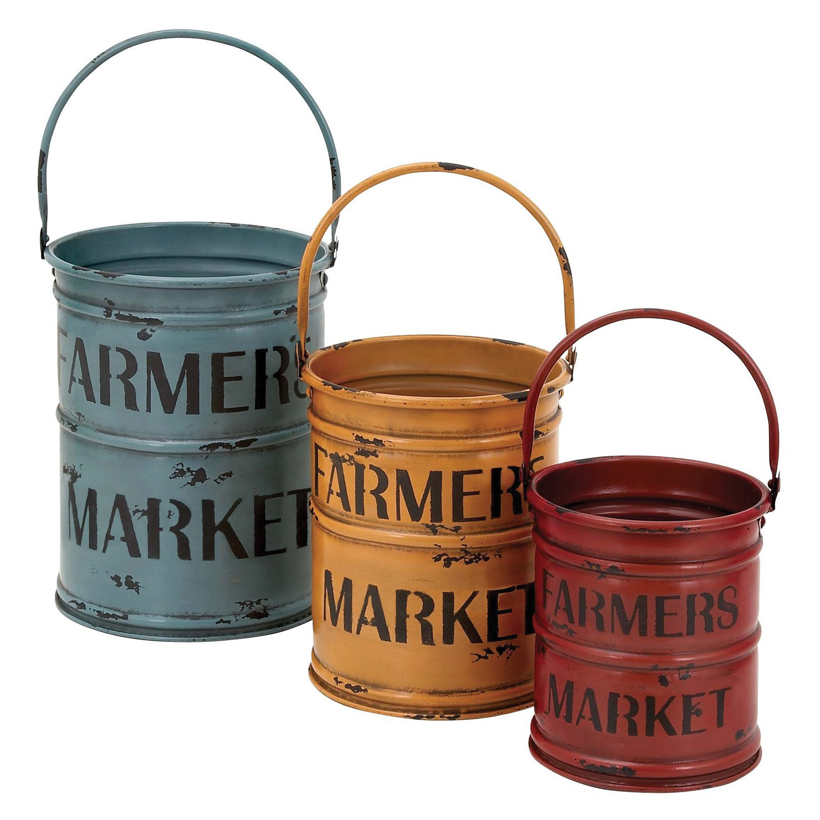 Woodland Imports Set of 3 Decorative Canisters in Rich Bold Colors