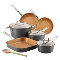 Ayesha Curry 10-Piece Home Collection Hard Anodized Aluminum Pots and Pans Set/Cookware Set