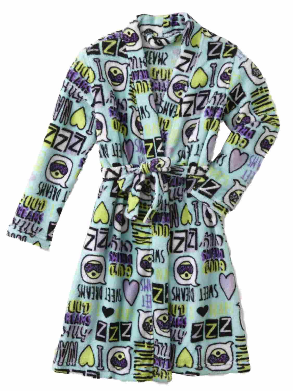 Girls Blue Sweet Dreams Bathrobe I Love Naps Bath Robe Emoji House Coat