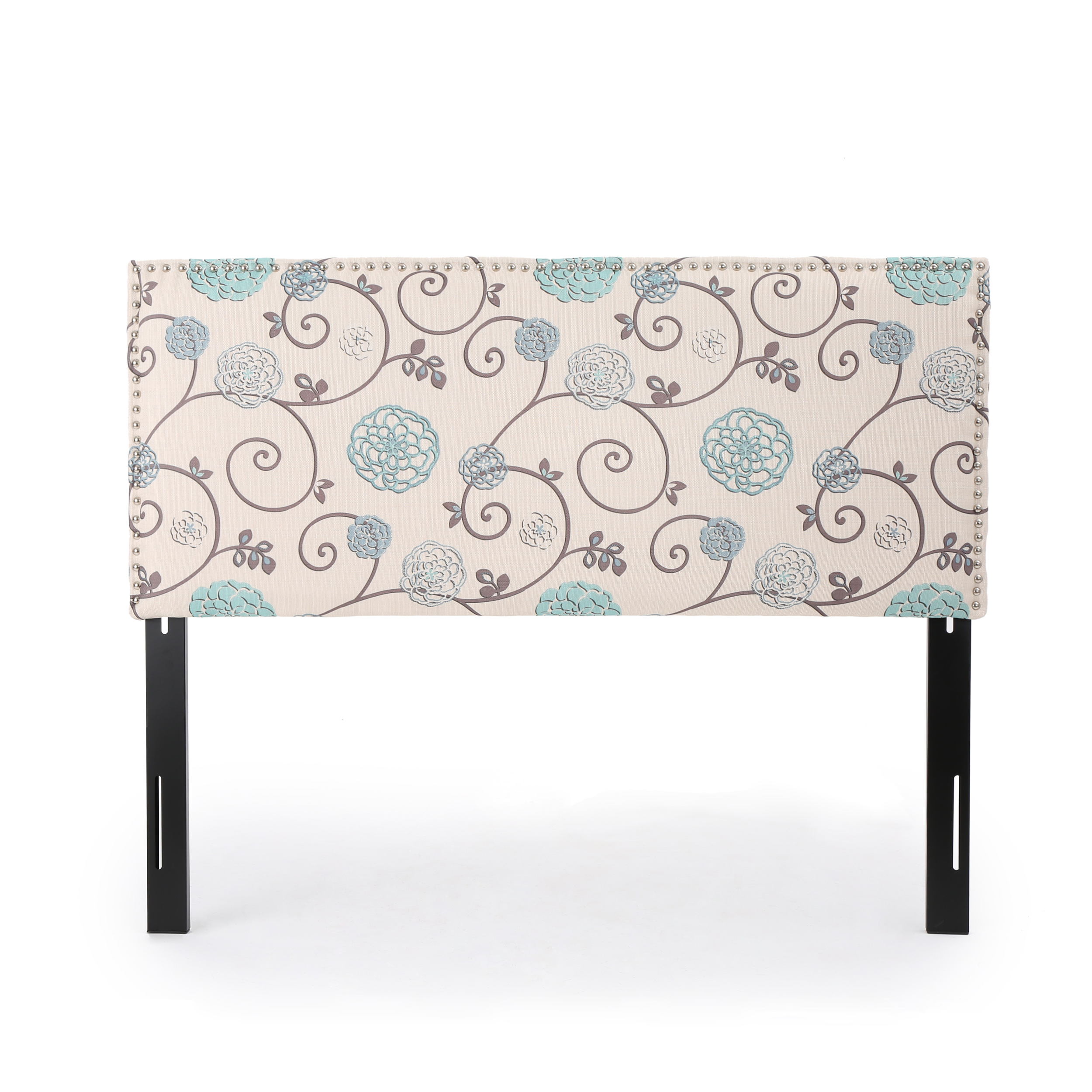 Halifax Fabric Queen/ Full Headboard, White and Blue Floral