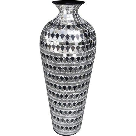 DecorShore Bella Palacio Collection Decorative Mosaic Vase - Tall 20 in. x 6 in. Home Decor Geometric Pattern Metal Floor Vase with Glass Mosaic in Elegant Silver & Black Tessellation Pattern ()