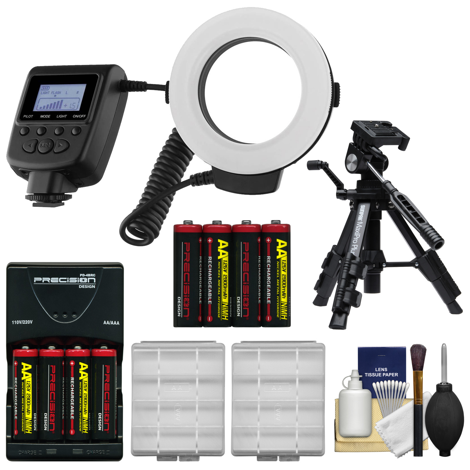 Vivitar Universal Macro 48 LED Ring Light & Flash with 4 Colored Diffusers with 8 AA Batteries & Charger + Macro Tripod + Kit