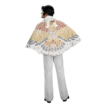 Cp Usa 50's 60's Elvis White Cape with Eagle Design For Dress Up (60's Fancy Dress Costumes)