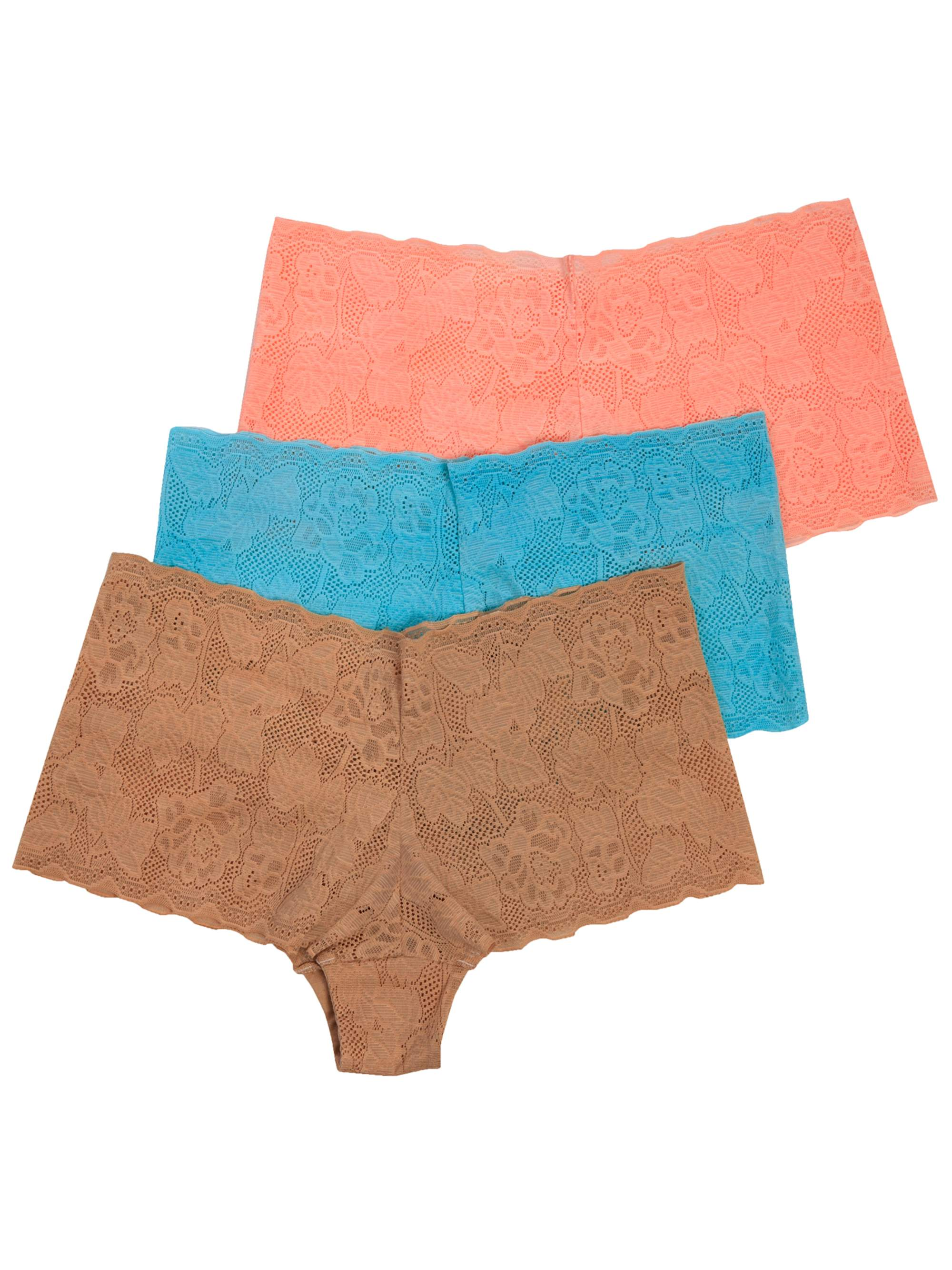 Women's Lace Boyshort Panties, 3-Pack
