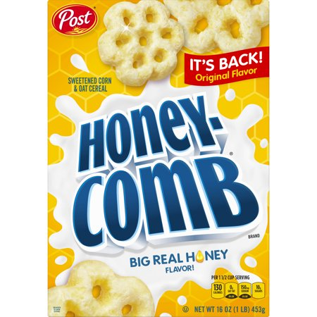 (2 Pack) Post Honey Comb Corn & Oat Breakfast Cereal, 16 Oz