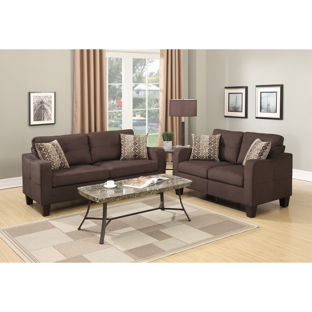 Polyfiber 2 Pieces Sofa Set With Accent Pillows Brown