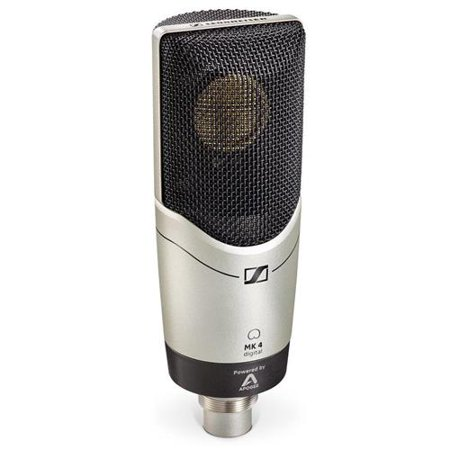 Sennheiser MK4 Large Diaphragm True Condenser Digital Microphone, Includes: (1) Lightning Connection Cable, (1) USB Connection Cable, (1) Swivel Mount
