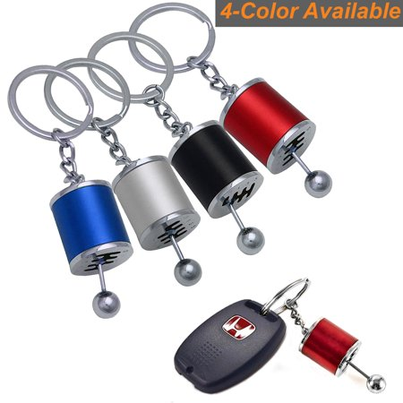 Xotic Tech Metal Gear Shift Knob Stick Box Shifter 6-Speed Keychain Fob Ring for all Keys-Red