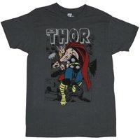 Thor (Marvel Comics) Mens T-Shirt - Big Step Kirby Attack Under Logo Image
