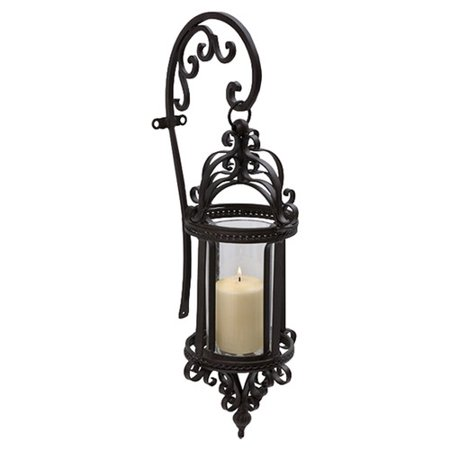 Wrought Iron Wall Hanging - Darby Home Co Hattie Wrought Iron and Glass Hanging Wall Lantern