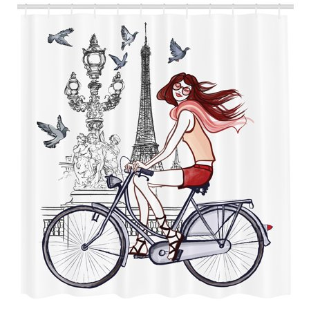 Eiffel Tower Shower Curtain, Illustration of a Woman on Alexander III Bridge in Paris Riding a Bike, Fabric Bathroom Set with Hooks, 69W X 84L Inches Extra Long, Grey Red Peach, by Ambesonne ()