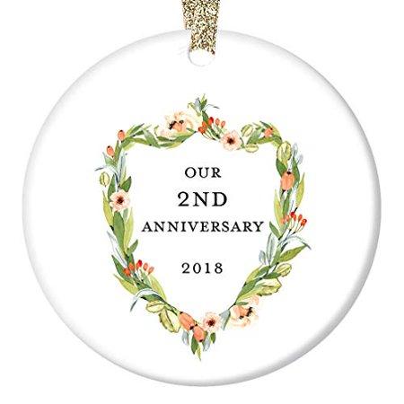 2nd Anniversary Ornament, Second Christmas Wedding 2018, Elegant Marriage Couple Husband & Wife Anniversaries Ceramic Present 3