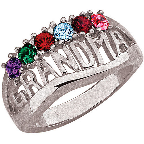 "Personalized ""Grandma"" Birthstone Silver-Tone Ring"
