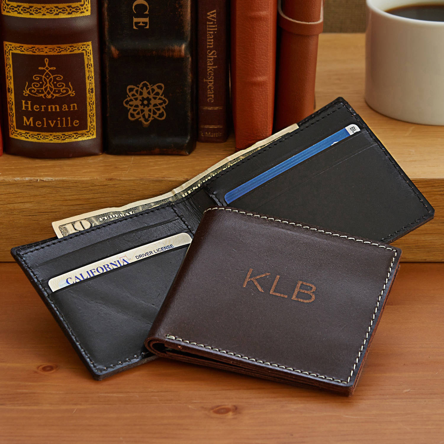 Personalized Leather Wallet, Available in Black or Brown